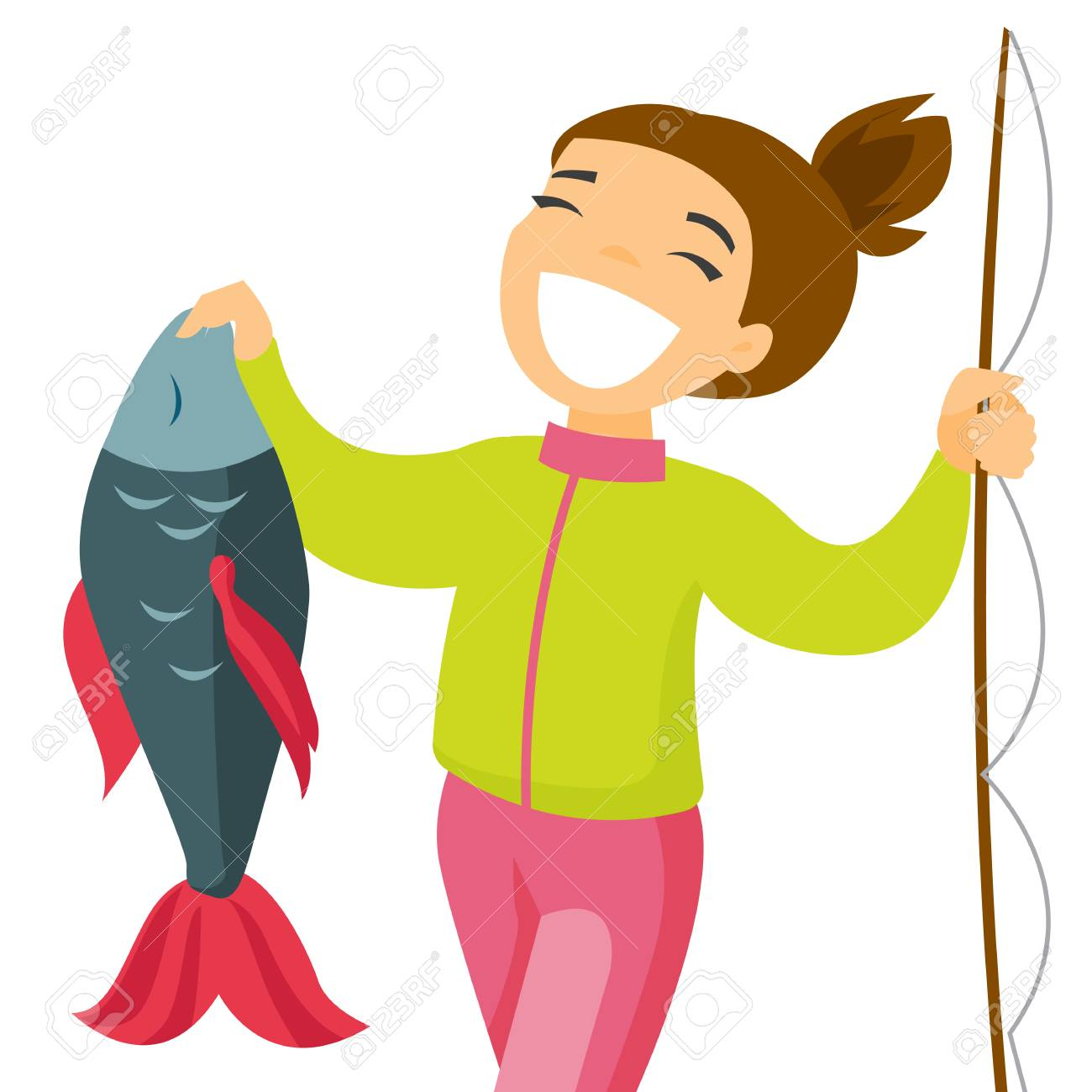 Happy Caucasian White Fisherwoman Proud Of Catch After Fishing