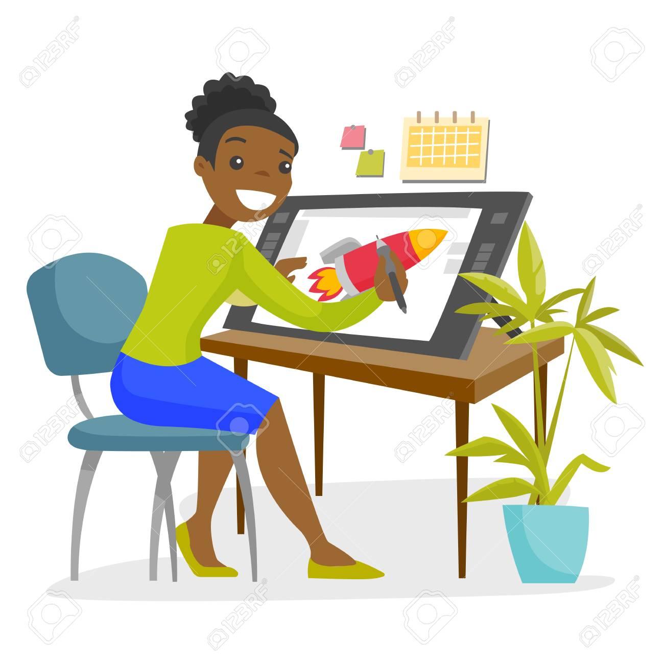 A Black Woman Graphic Designer Or Freelance Artist Works Using