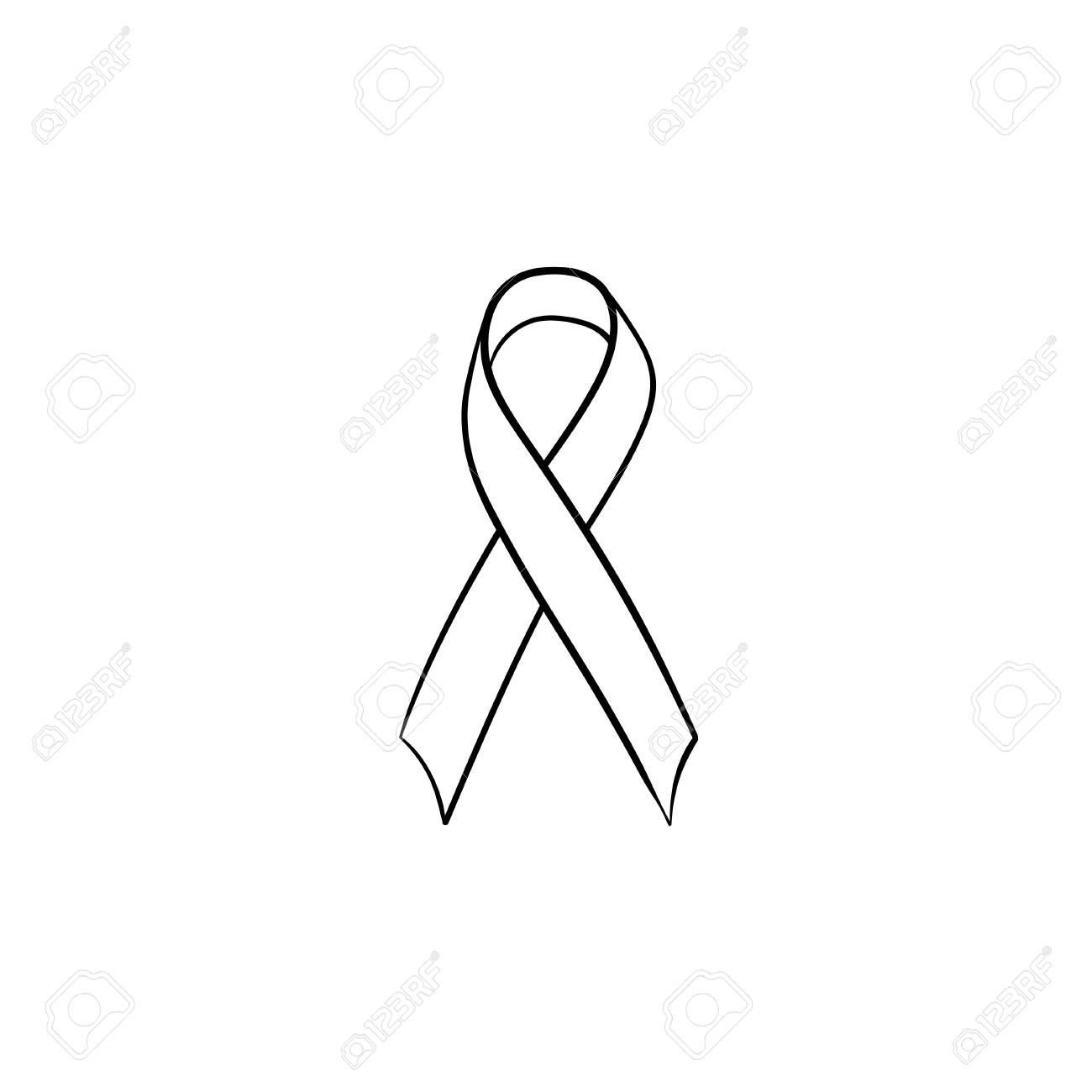 Awareness Ribbon Hand Drawn Outline Doodle Icon Breast Cancer