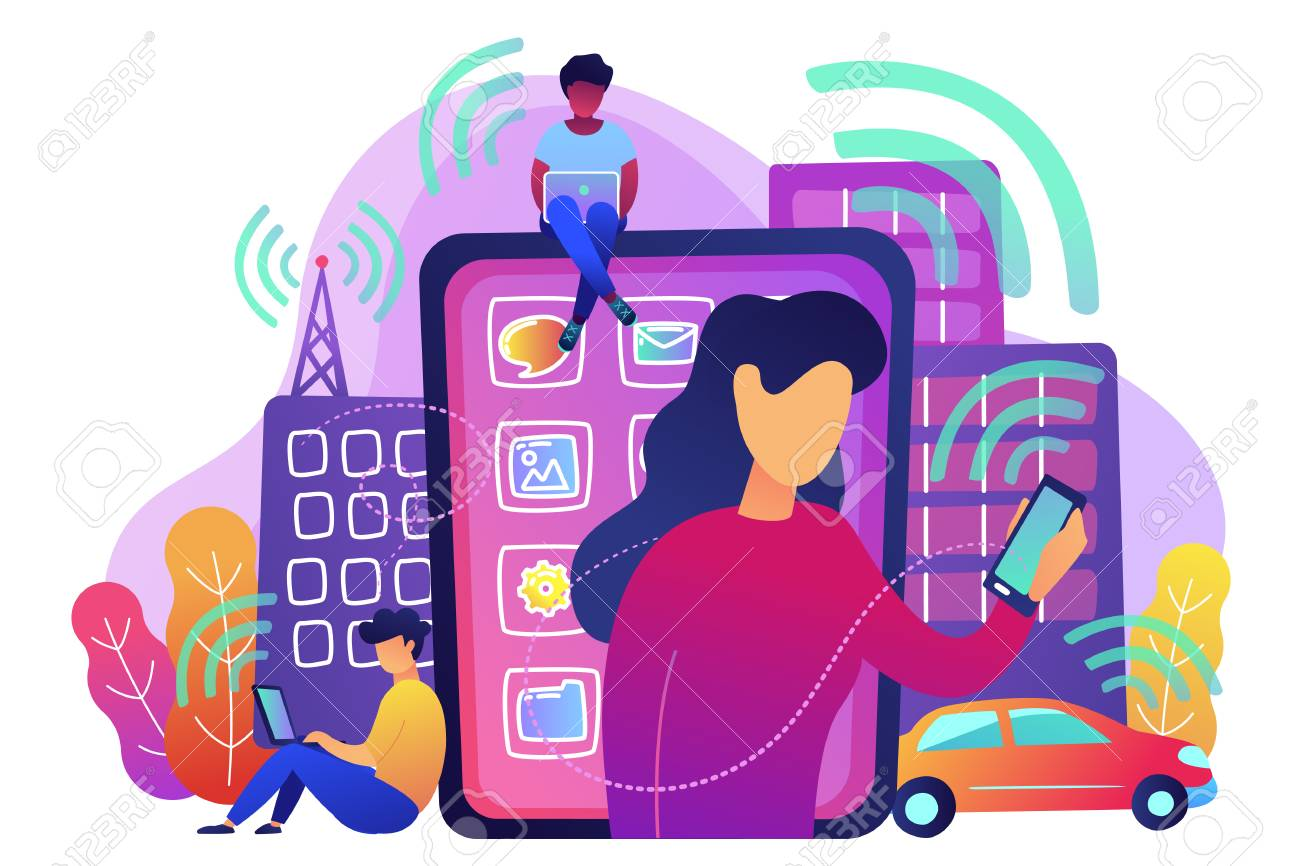 People using different electronic devices such as smartphone, laptop, tablet. Radio fields, electromagnetic pollution, radiation concept, violet palette. Vector illustration on white background. - 103630656
