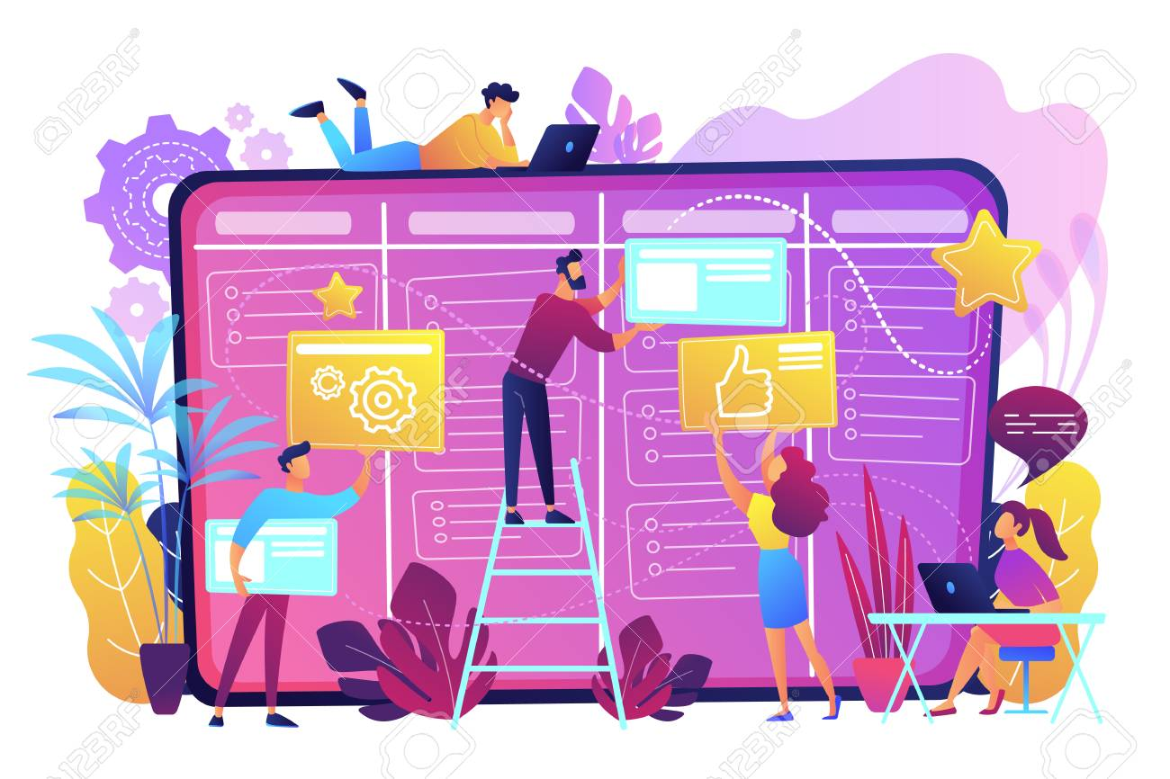 Team members moving cards on large kanban board. Teamwork, communication, interaction, business process, agile project management concept, violet palette. Vector illustration on white background. - 103630661