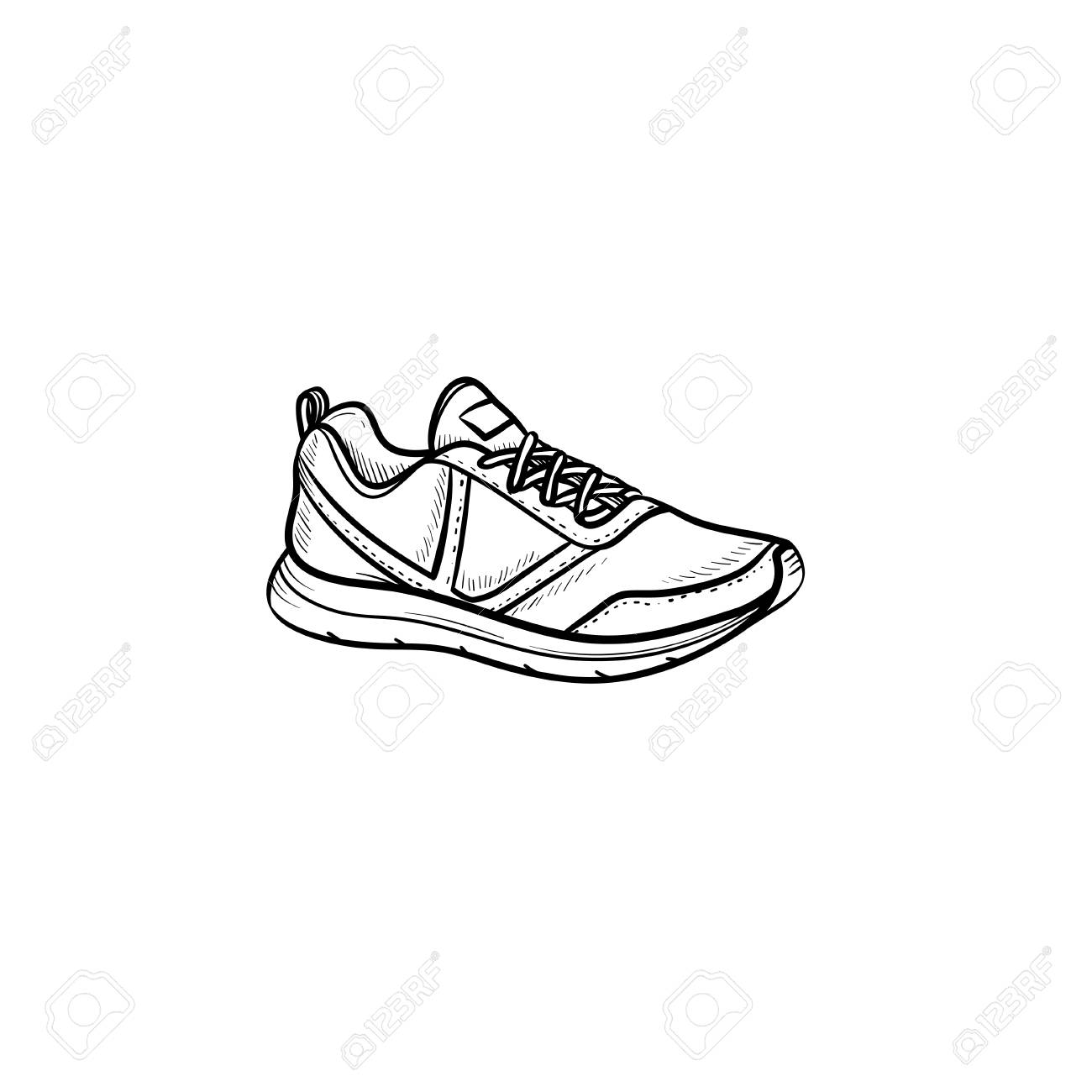Doodle Outline IconSport Drawn SneakerRunning Hand Shoe N8wOXZnP0k