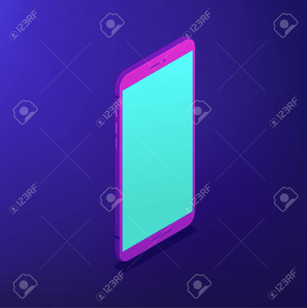 Isometric smartphone with a blue screen  Portable digital device
