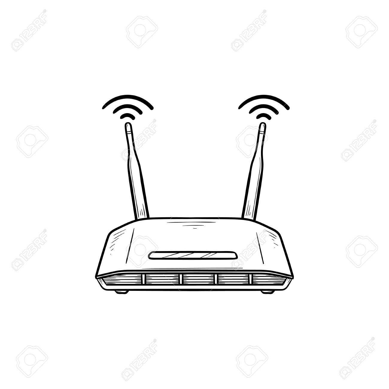 Wifi router hand drawn outline doodle icon  Internet technology,