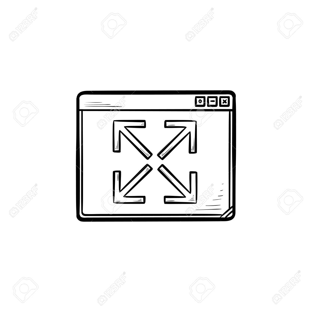 Browser window expansion hand drawn outline doodle icon  Website