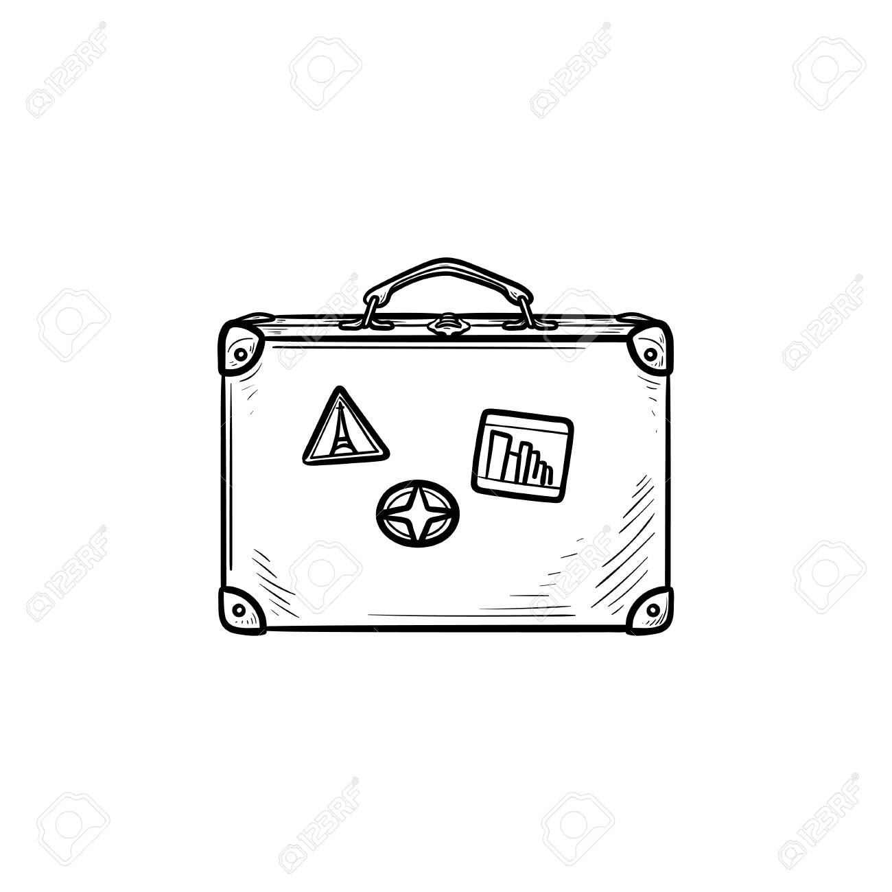 Vintage travel suitcase hand drawn outline doodle icon. Holiday..