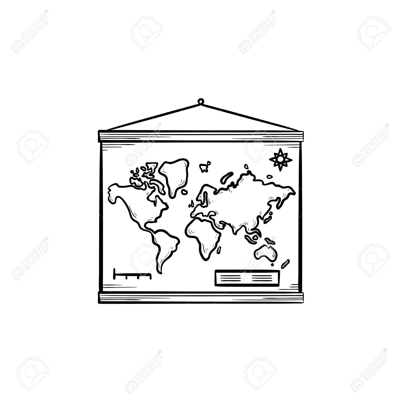 World Map Hanging On The Wall Hand Drawn Outline Doodle Icon ...