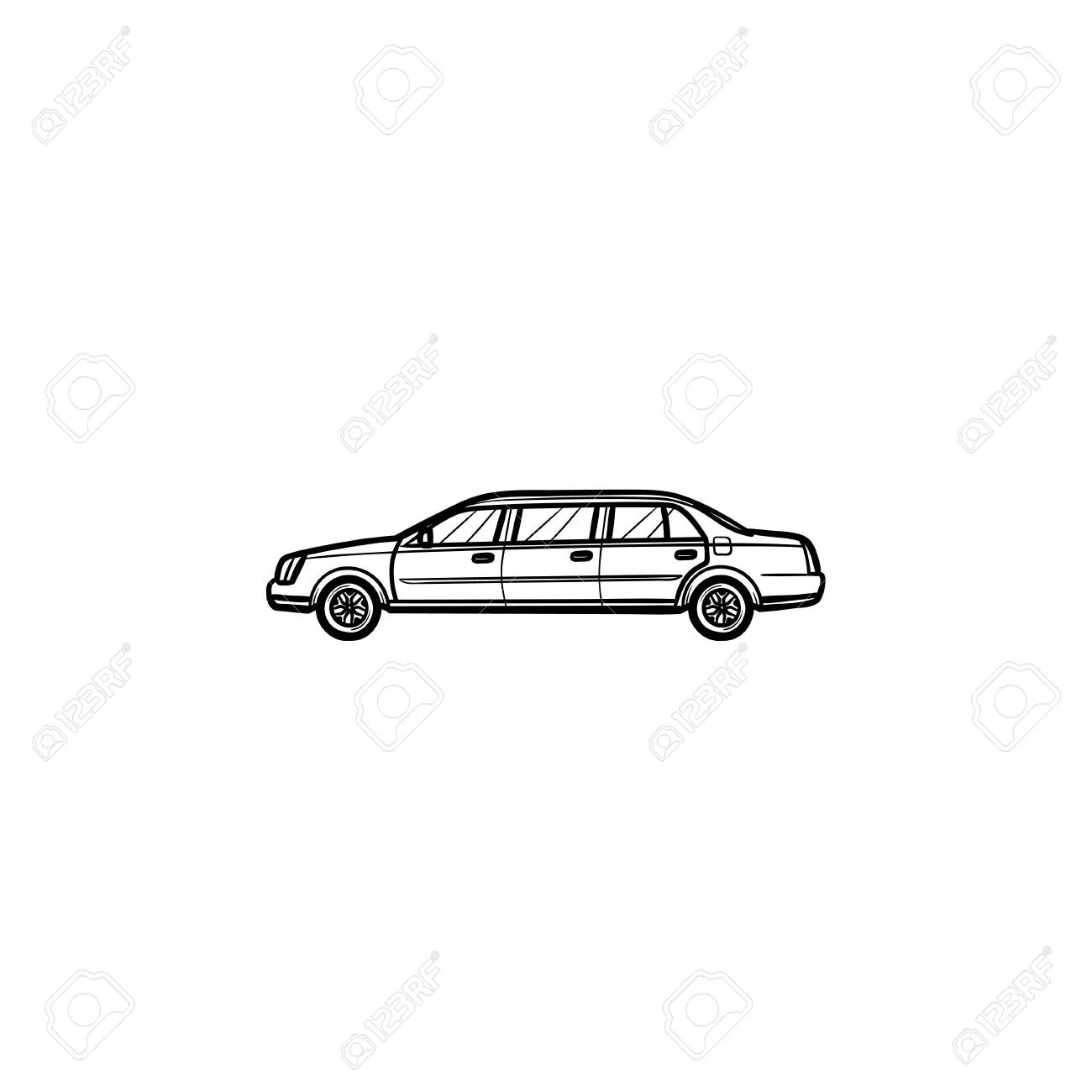 Limousine Hand Drawn Outline Doodle Icon Luxury Car And City Car