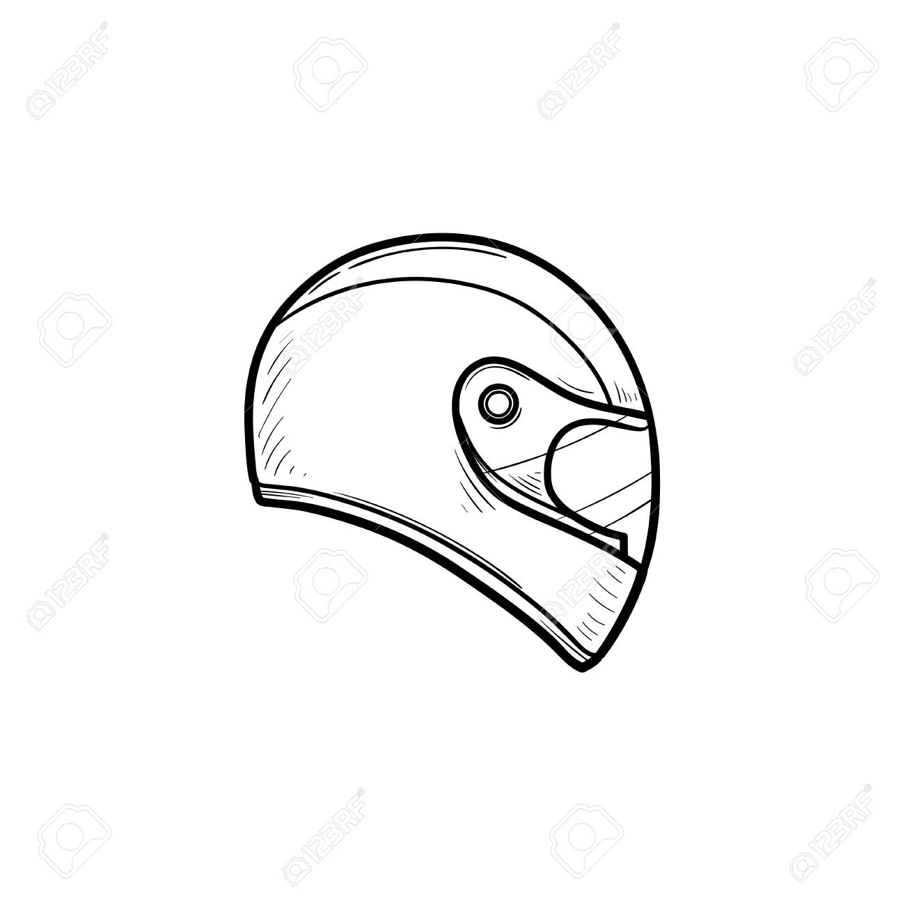 Motorcycle Helmet Hand Drawn Outline Doodle Icon Motorbike Protection