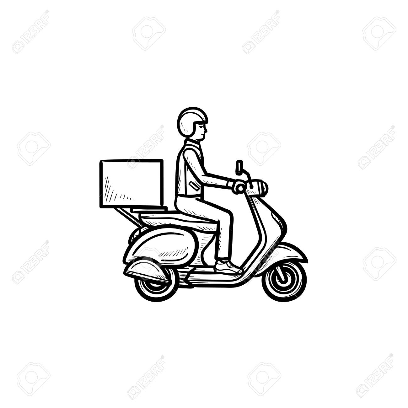 Employee Riding Delivery Bike Hand Drawn Outline Doodle Icon
