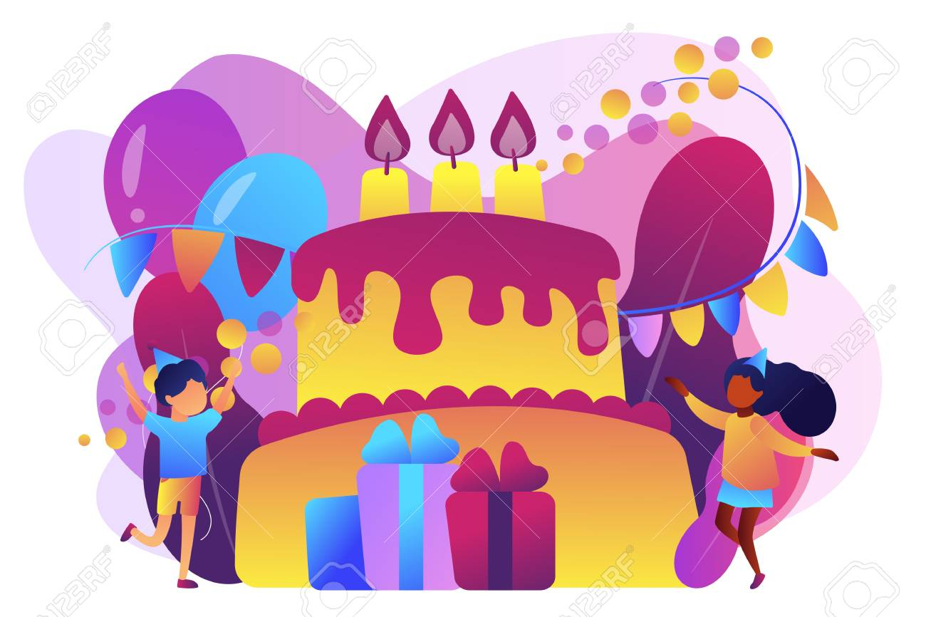 Happy Kids At Huge Cake With Candles And Gift Boxes Celebrating Royalty Free Cliparts Vectors And Stock Illustration Image 126930055