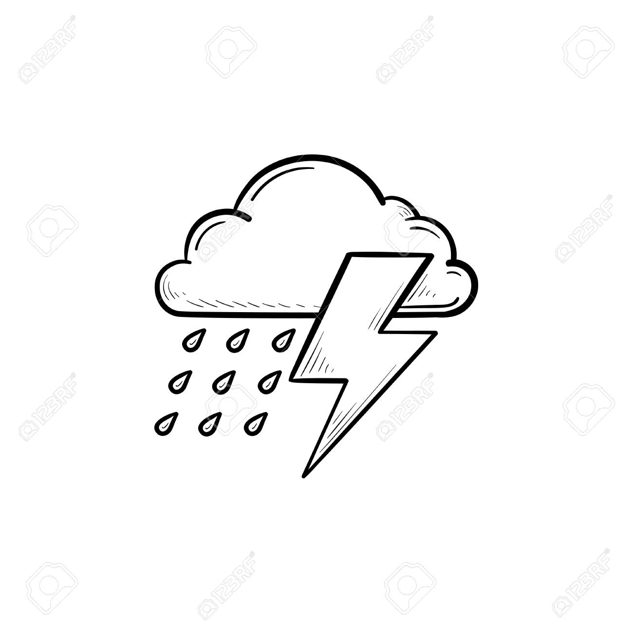 Rain cloud with lightning hand drawn outline doodle icon rainy