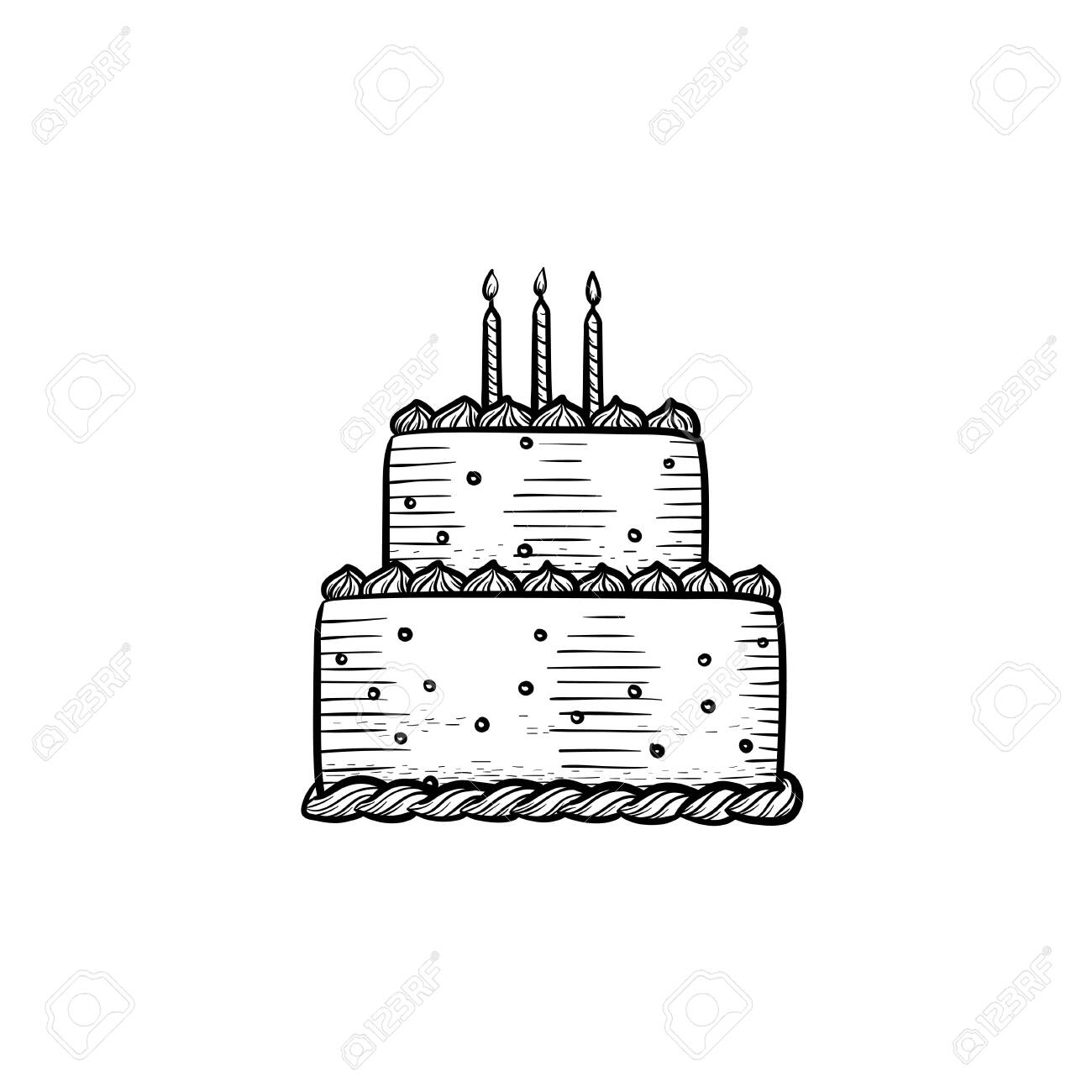 Fine Candle Cake Hand Drawn Outline Doodle Icon Creme Birthday Cake Birthday Cards Printable Trancafe Filternl