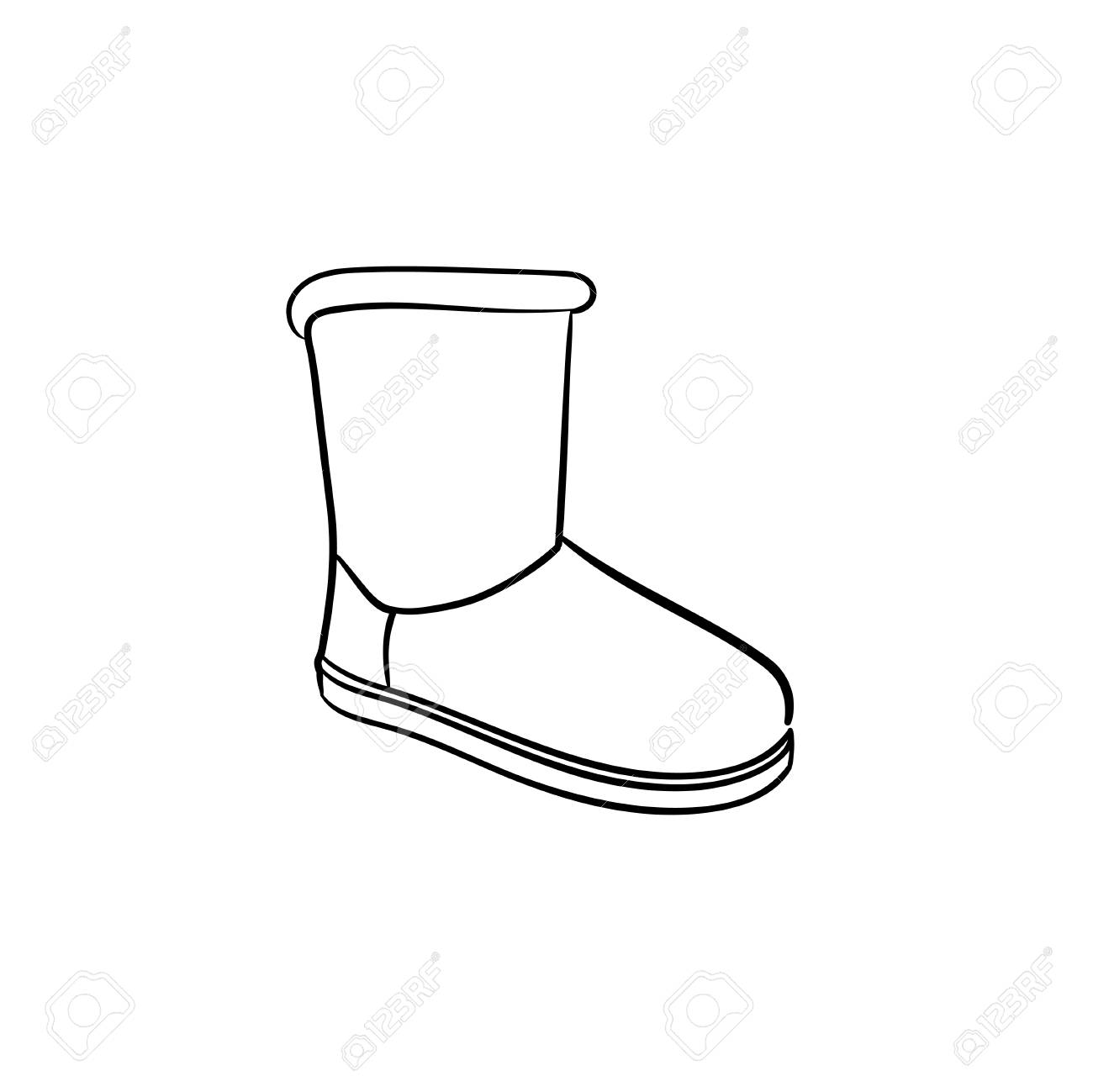 Winter soft boot hand drawn outline doodle icon. Shoe fashion,..