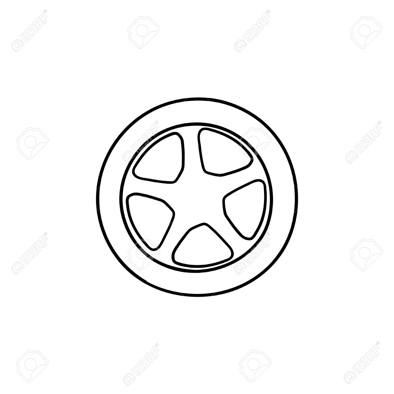 Car Wheel Hand Drawn Outline Doodle Icon Car Tire And Transport Royalty Free Cliparts Vectors And Stock Illustration Image 115641696