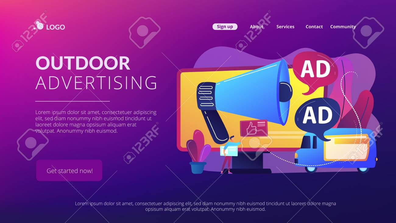 Marketer with outdoor advertisements from loudspeaker and on the van. Outdoor advertising design, out of home media, outdoor advertising concept. Website vibrant violet landing web page template. - 116626245