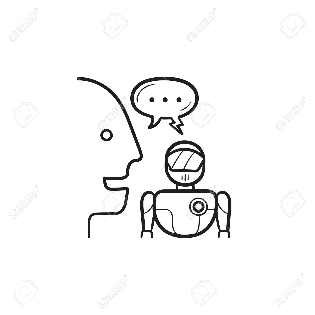 Human and robot communication and speech bubble hand drawn outline