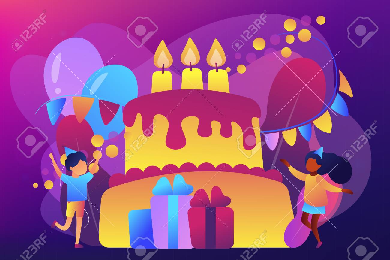 Happy Kids At Huge Cake With Candles And Gift Boxes Celebrating Royalty Free Cliparts Vectors And Stock Illustration Image 124639767