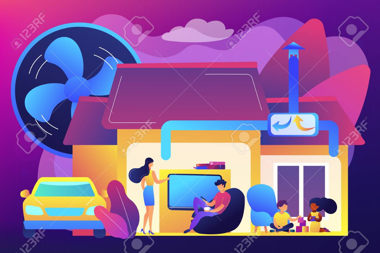 Family with children in house with air ventilation system. Ventilation system, energy recovery ventilation, airing system cleaning concept. Bright vibrant violet vector isolated illustration - 124608113