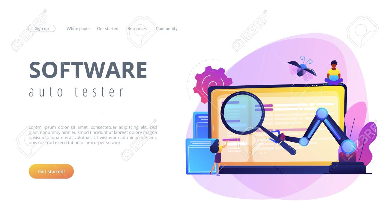 Laptop And Software Assisting In Testing Process Tiny People Royalty Free Cliparts Vectors And Stock Illustration Image 124355284