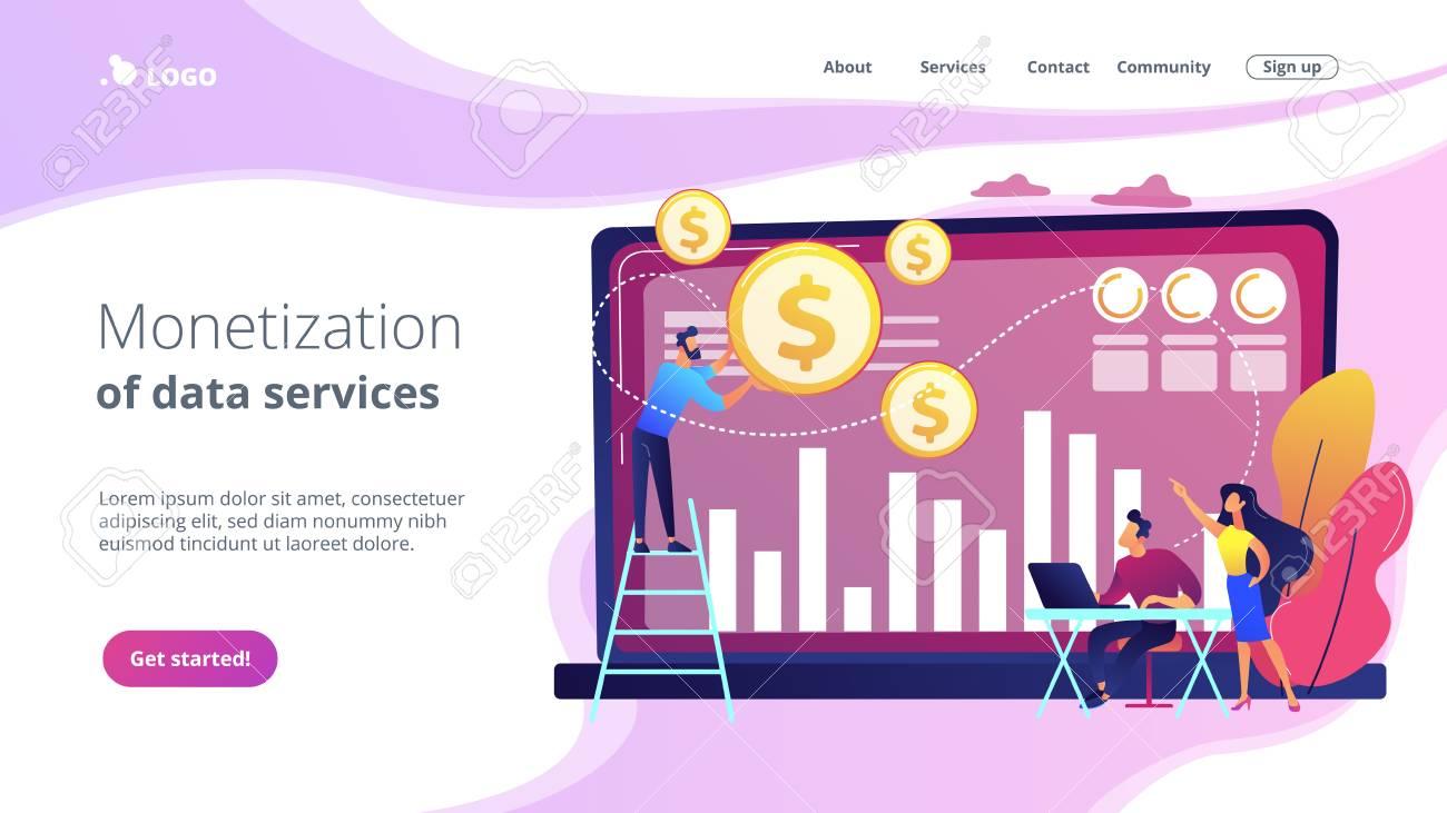 Data monetization concept landing page. - 119000593