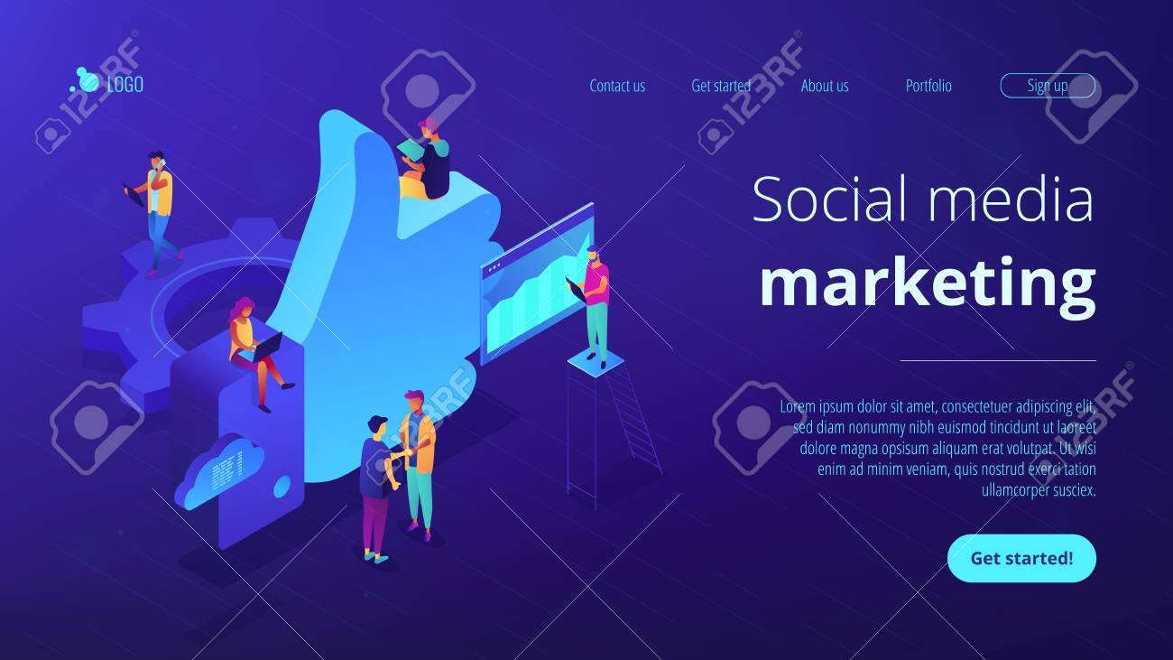Social media marketing managers and specialist working and thumb