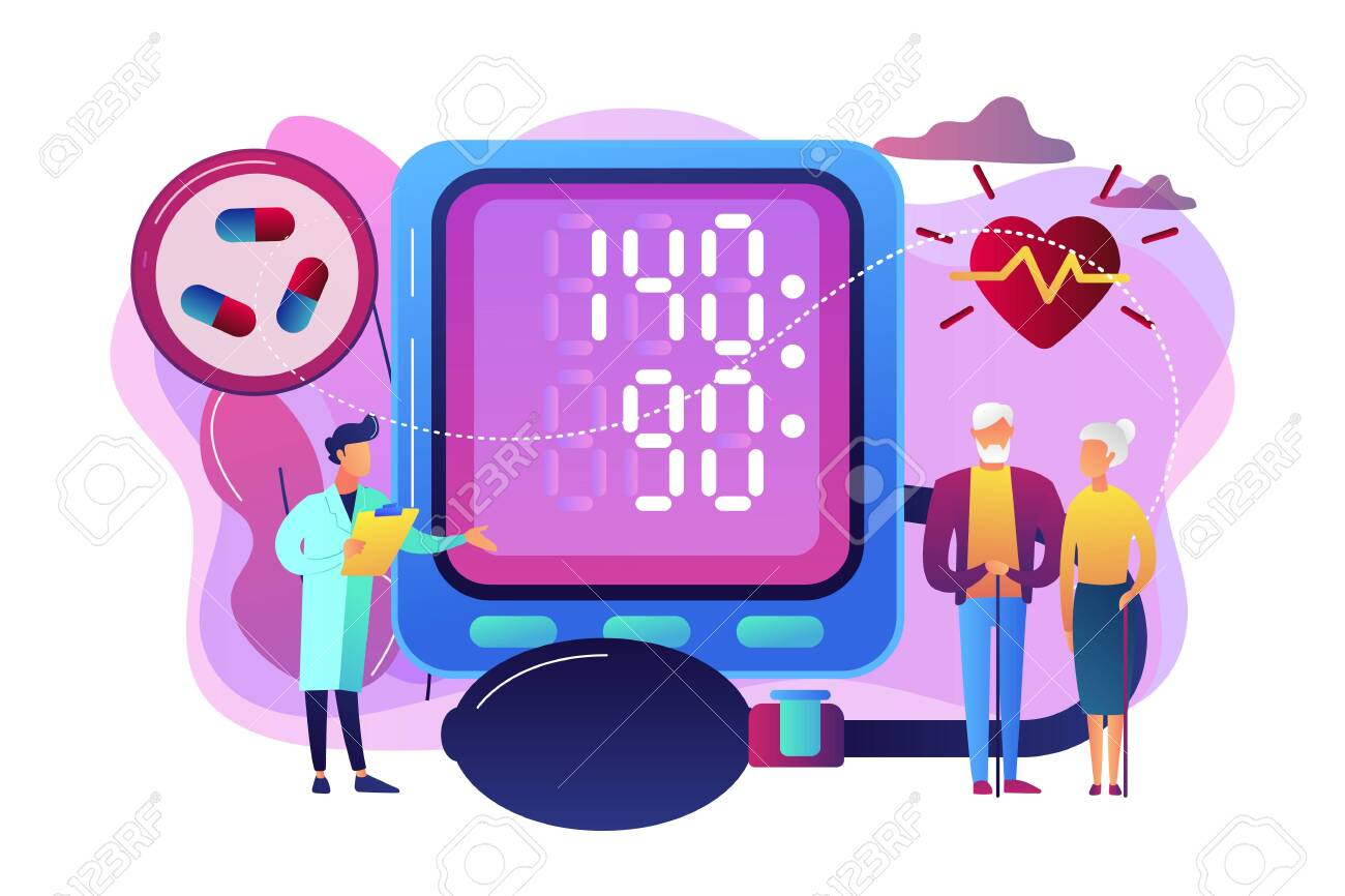 Doctor, elderly couple at tonometer hight blood pressure, tiny people. High blood pressure, hypertension disease, blood pressure control concept. Bright vibrant violet vector isolated illustration - 123640298