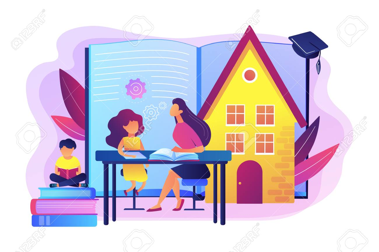 Children at home with tutor or parent getting education, tiny people. Home schooling, home education plan, homeschooling online tutor concept. Bright vibrant violet vector isolated illustration - 128545047