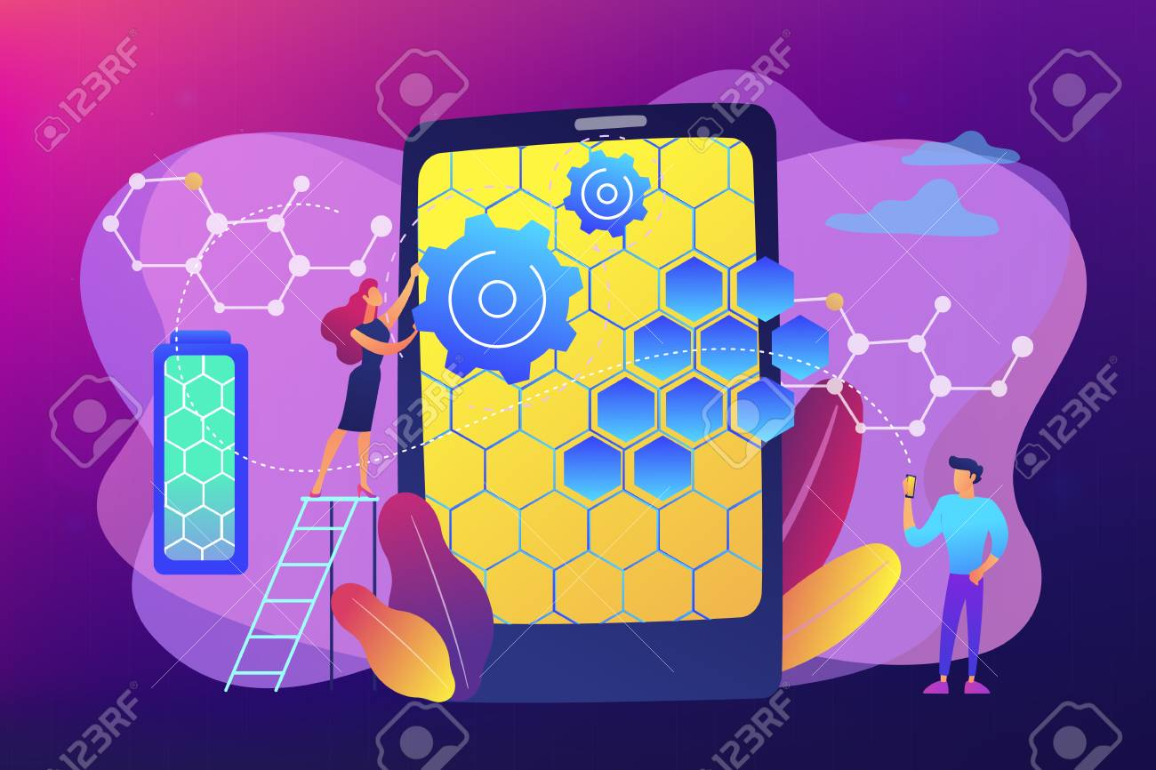 Tiny people scientists with graphene atomic structure for smartphone
