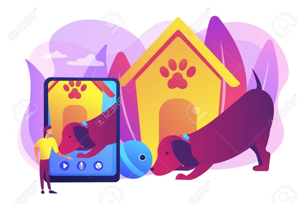 Dog walker and petsitter application on smartphone  Robotic pet