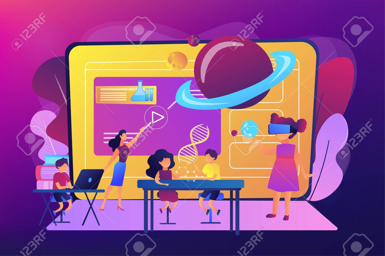 Futuristic classroom, little children study with high tech equipment. Smart spaces at school, AI in education, learning management system concept. Bright vibrant violet vector isolated illustration - 128545943