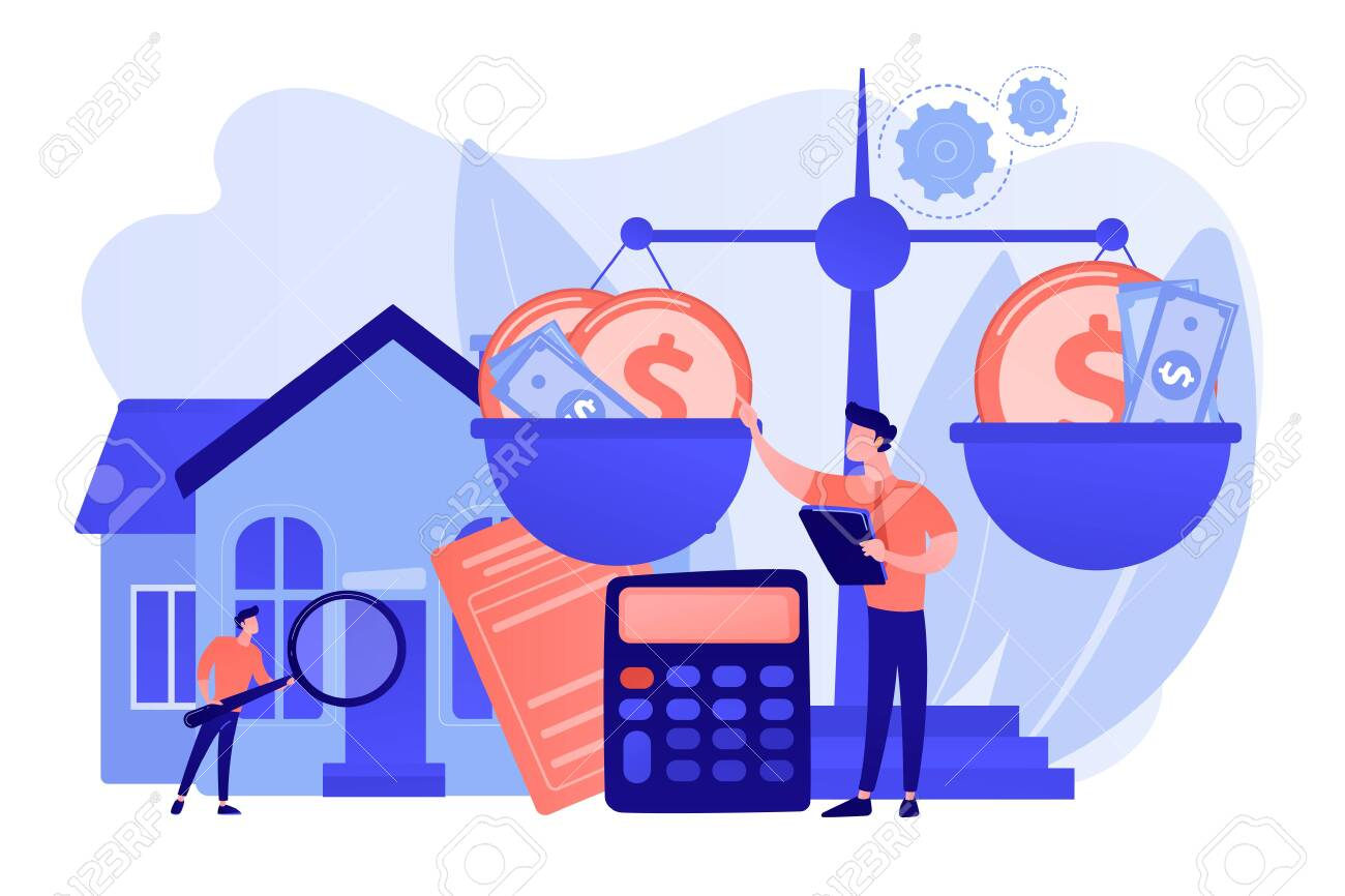 Real estate agency, property selling and buying. Financial consulting. Appraisal services, property valuation, appraisal professionals concept. Pink coral blue vector isolated illustration - 132260059