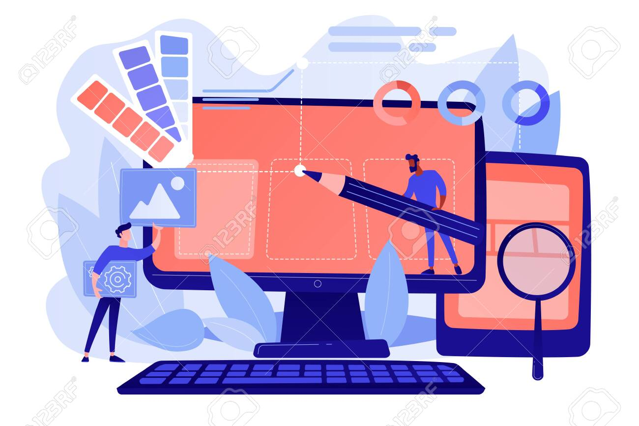 Designers are working on the desing of web page. Web design, User Interface UI and User Experience UX content organization. Web design development concept. Pinkish coral blue palette. Vector illustration - 133797080