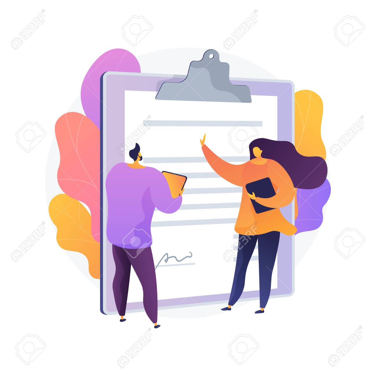 Document signing. Partnership deal, business consultation, work arrangement. Client and assistant writing contract cartoon characters. Vector isolated concept metaphor illustration - 135901692