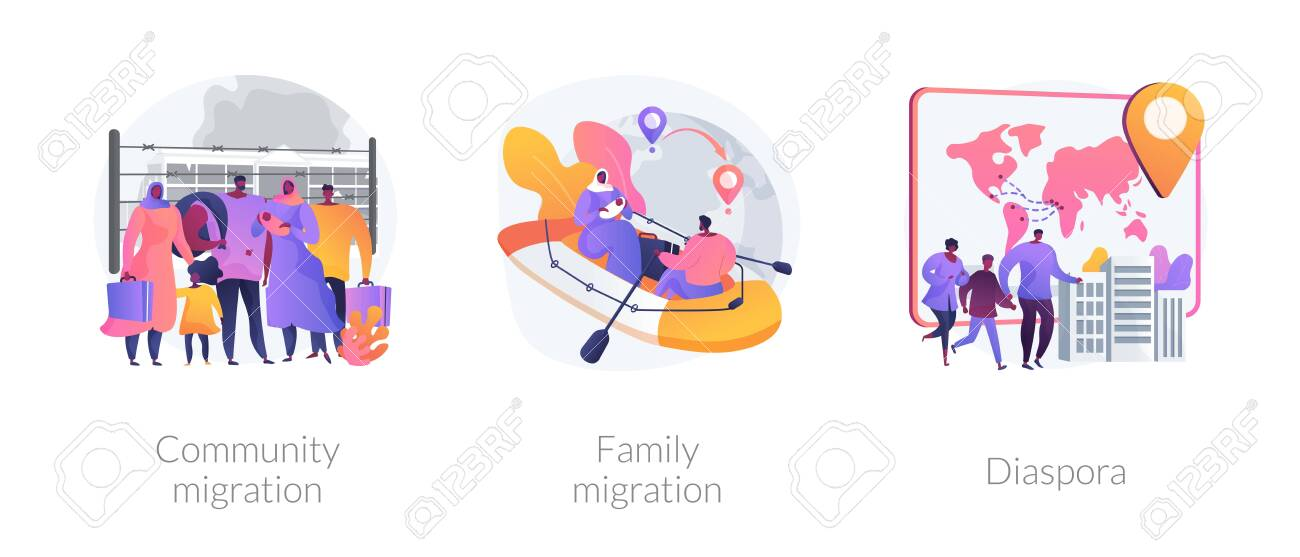 Refugees, forced displacement abstract concept vector illustrations. - 141327844