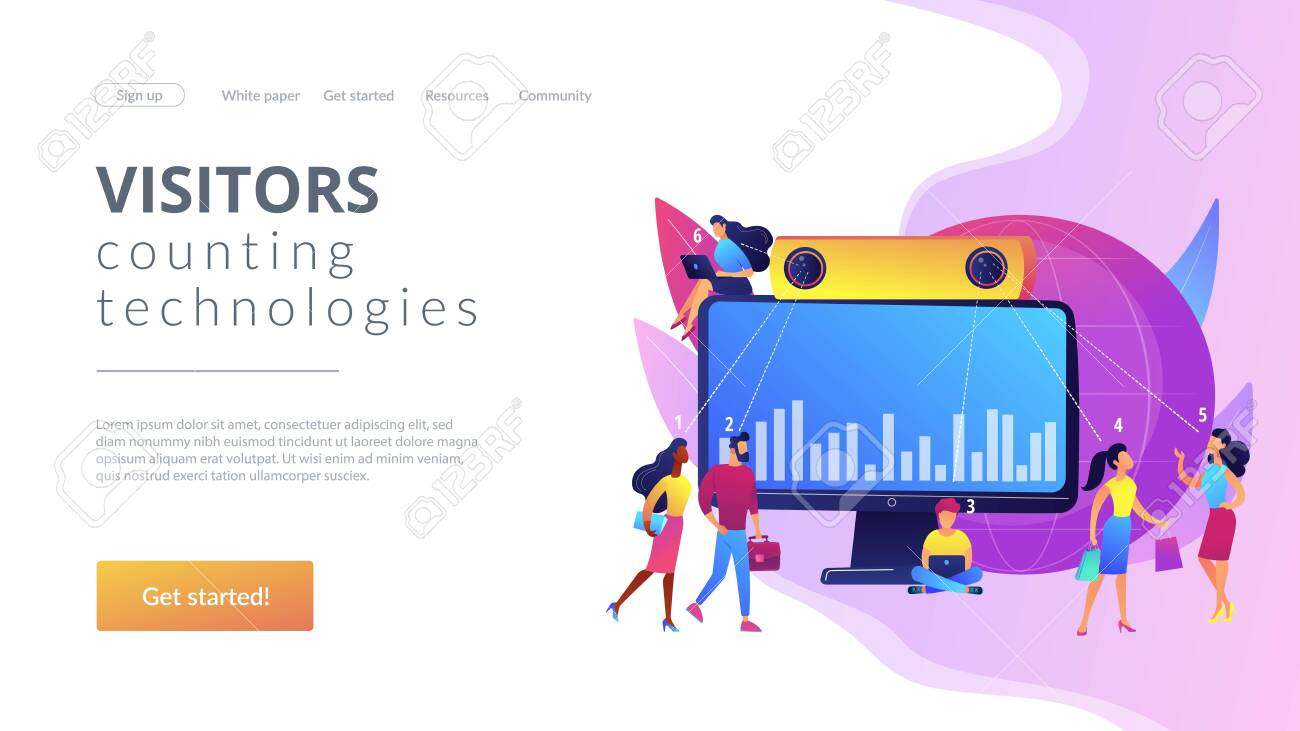 Electronic device for measuring number passageway people. People counter system, visitors counting technologies, retail traffic report concept. Website homepage landing web page template. - 151162925