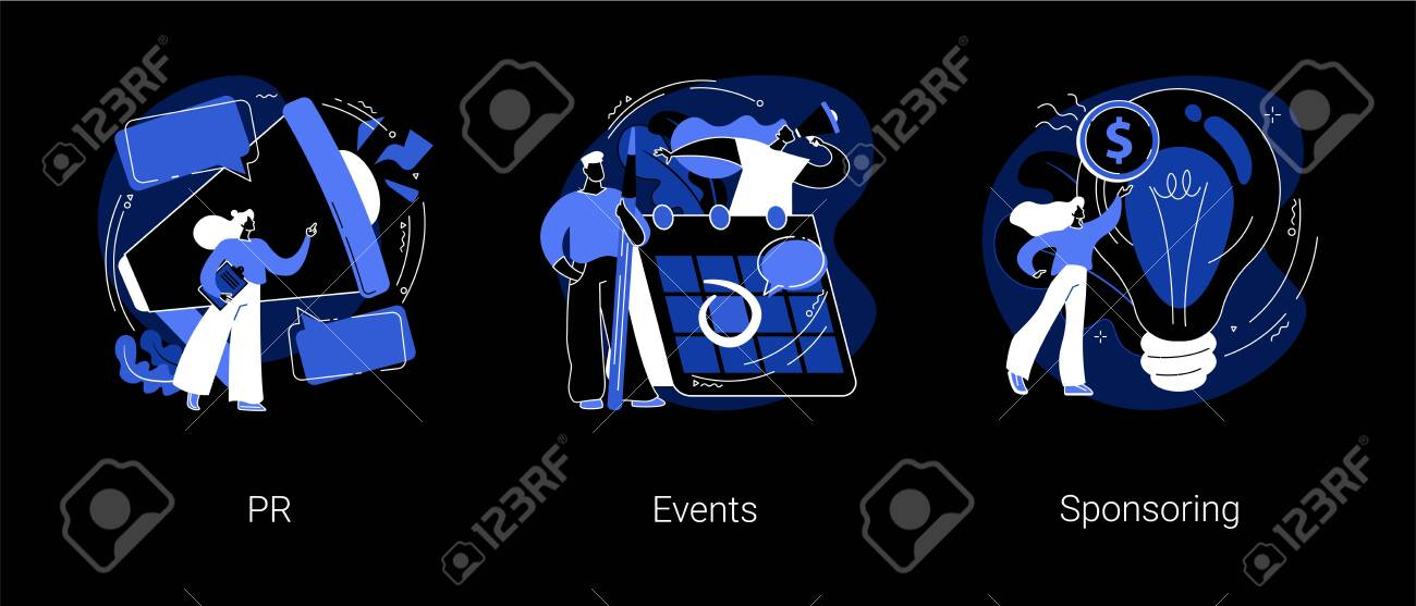 Company public relations abstract concept vector illustrations. PR, events and sponsoring, promotion strategy, event calendar, company investment program, website menu bar dark mode metaphor. - 151396235