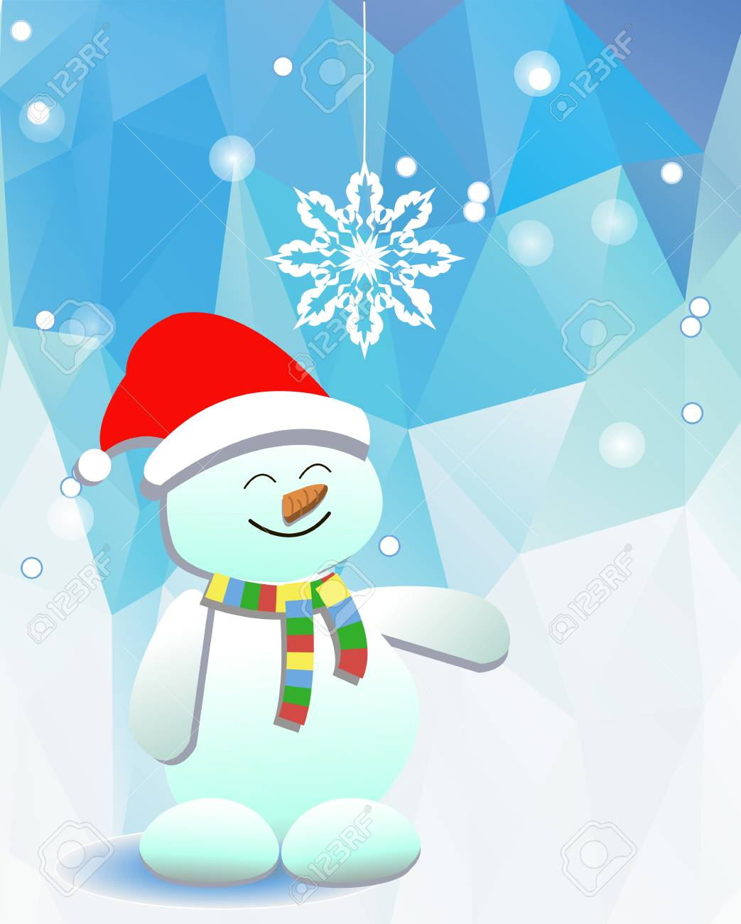 Snowman and a snowflake on the background of blue sky Stock Vector - 22779891