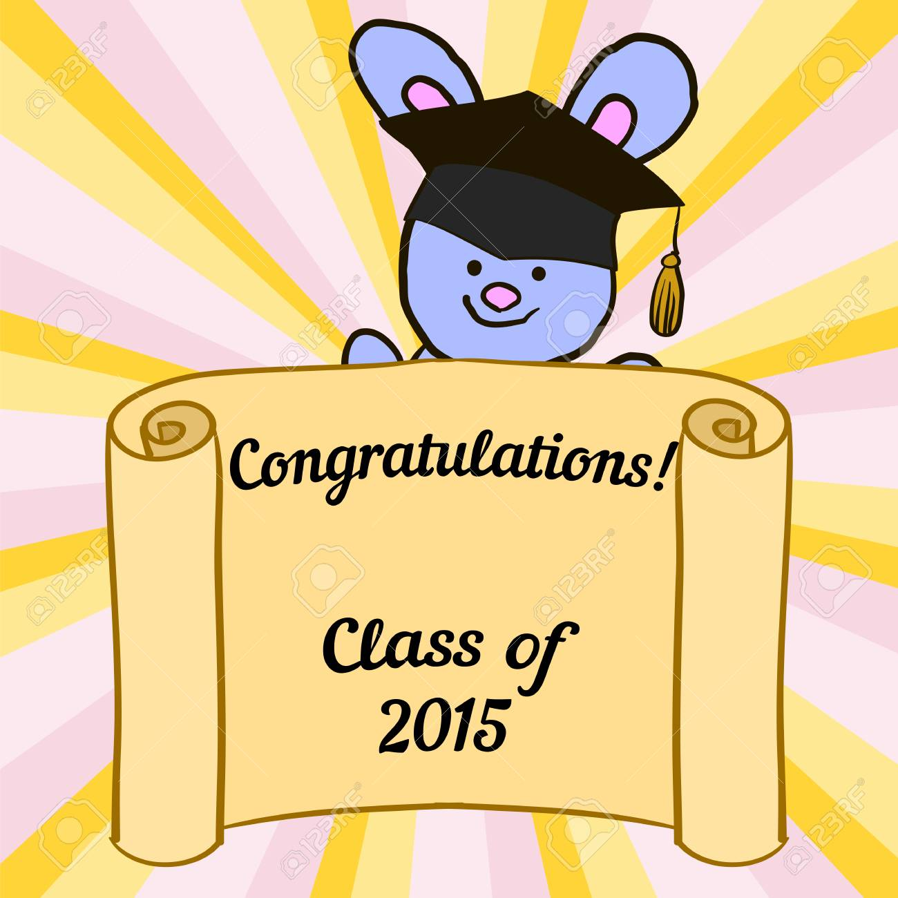 greeting card with a character hare and congratulations graduate