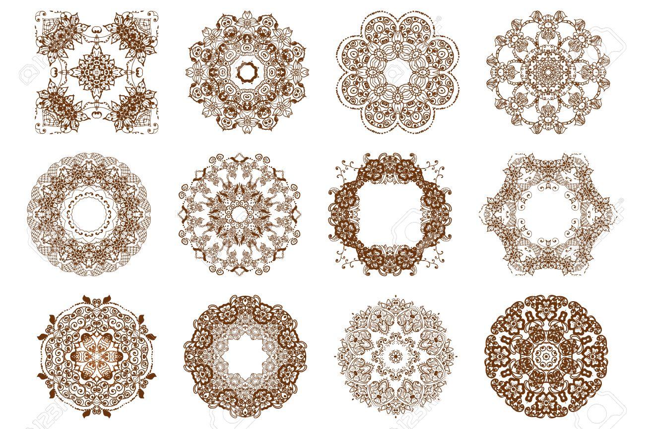Round Mehndi Henna Patterns Drawn Doodle Set Mandalas Circle