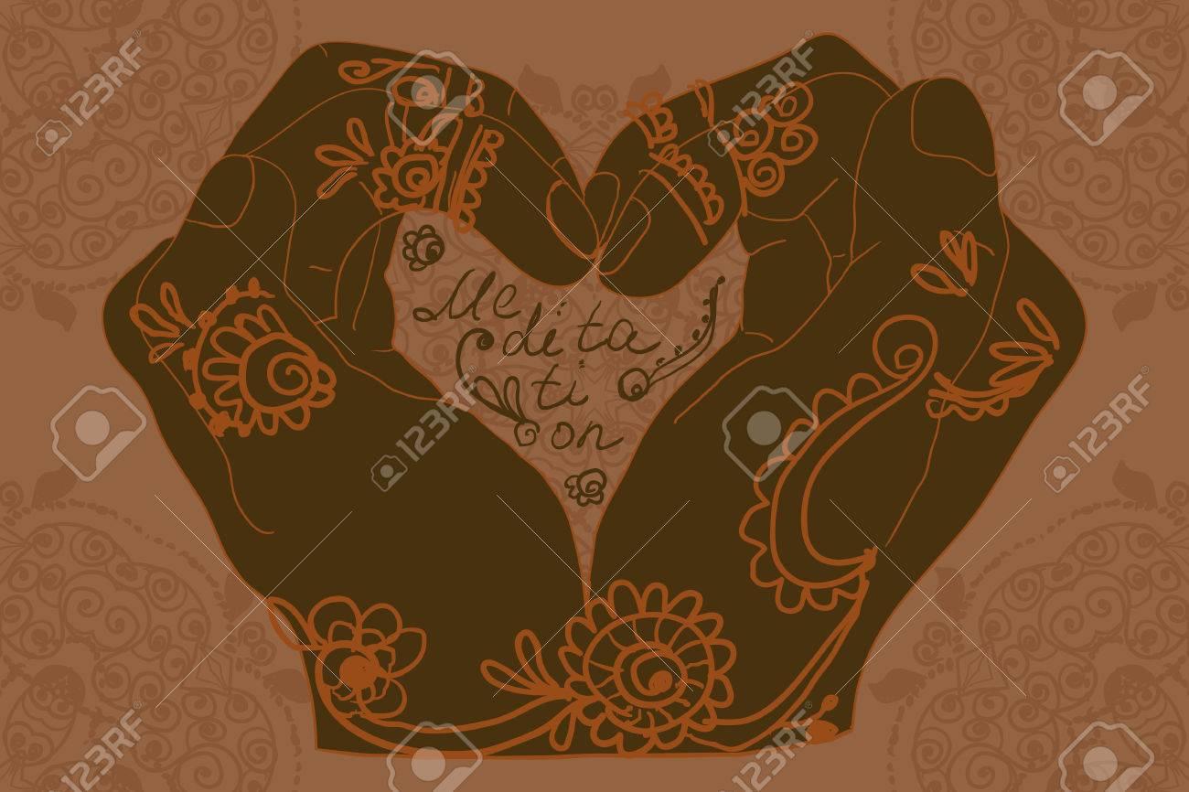 Mehndi Patterns Vector : Element yoga mudra hands with mehndi patterns vector illustration