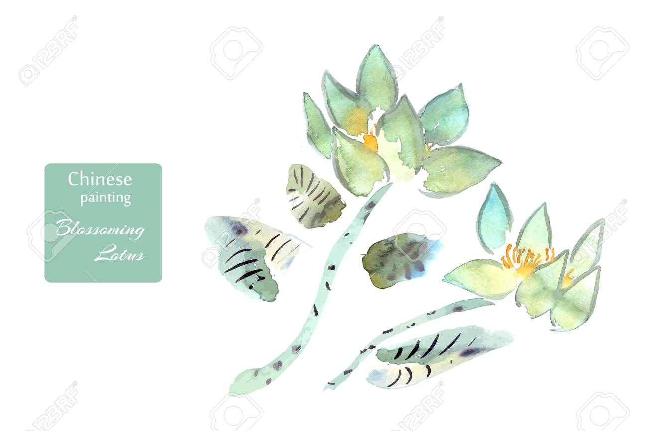 Lotus flowers watercolor done in the style of chinese painting lotus flowers watercolor done in the style of chinese painting vector illustration stock vector izmirmasajfo