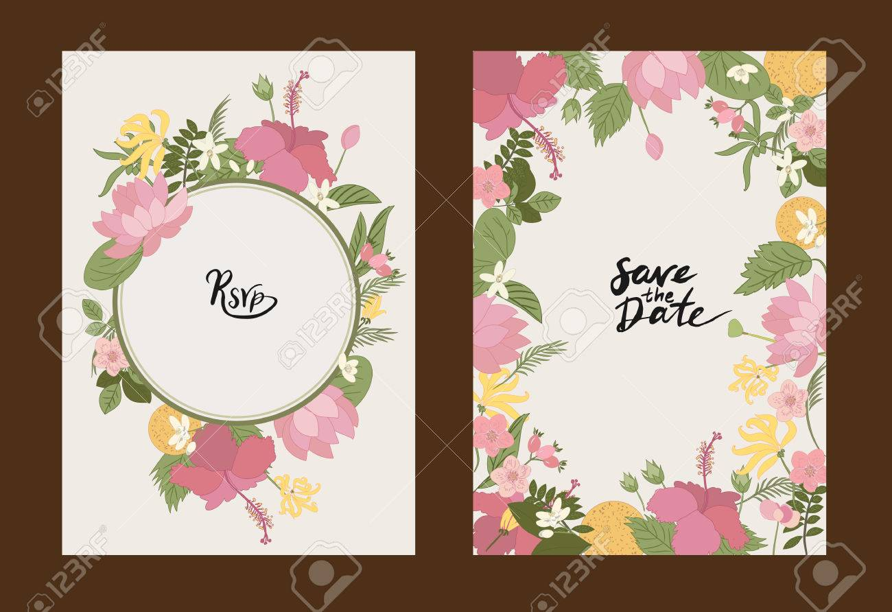 Collection greeting card floral vector background flowers ylang collection greeting card floral vector background flowers ylang ylang hibiscus rosehips m4hsunfo