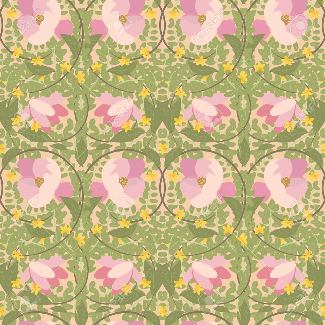 Illustration Vintage Floral Magnolia And St. John's Wort Pattern.. Stock  Photo, Picture And Royalty Free Image. Image 54103859.