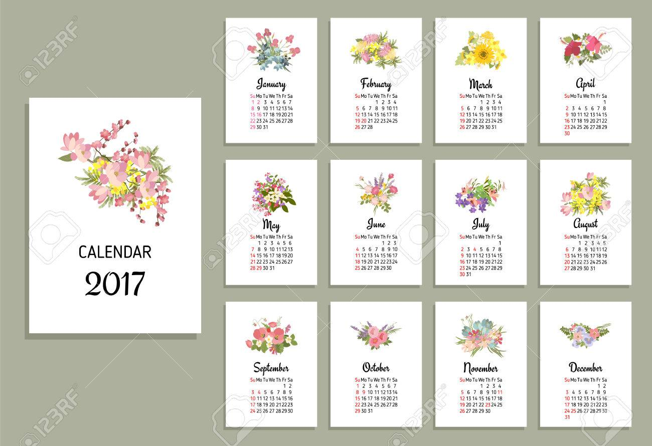 Vector Illustration Of Floral Calendar 2017 Flower Bouquets