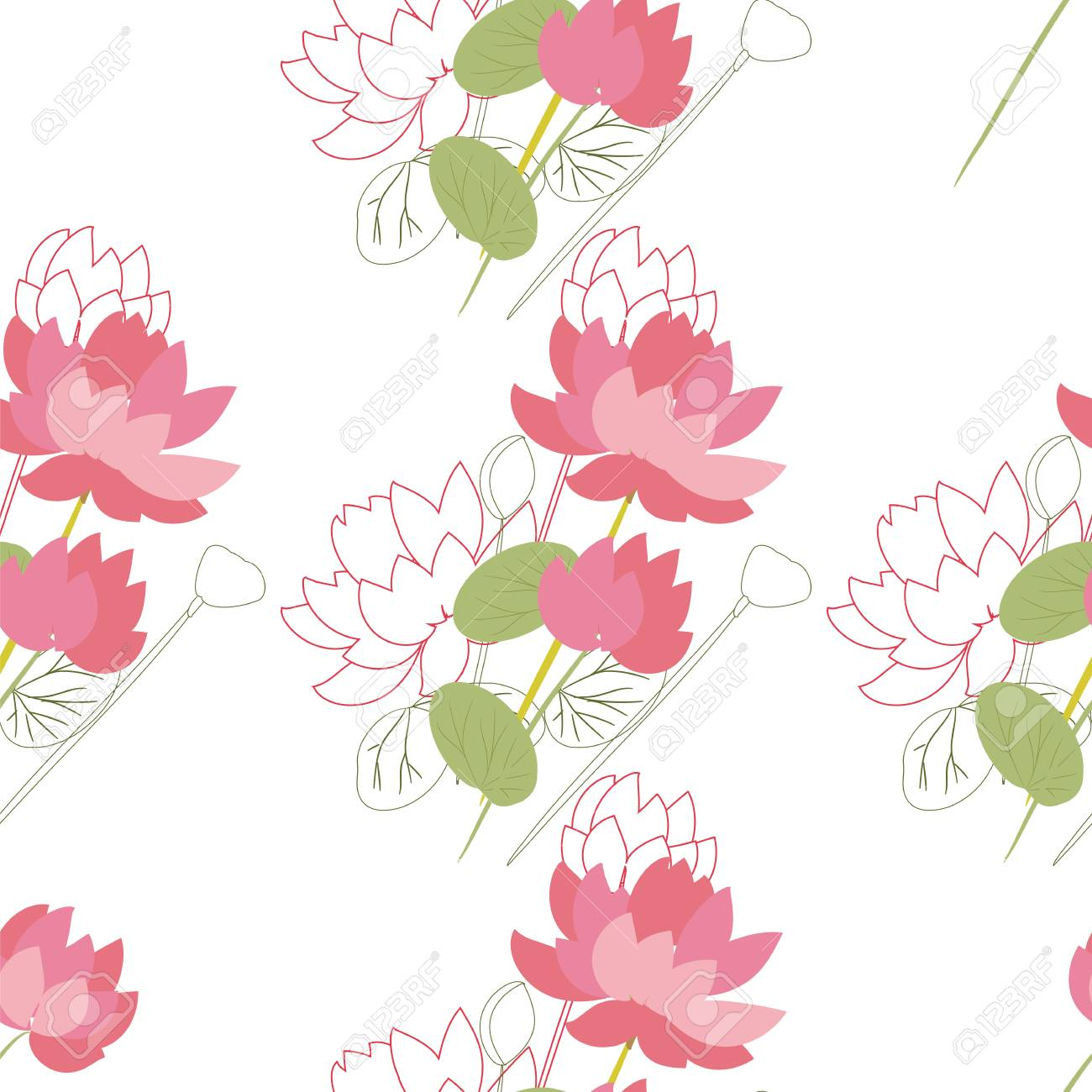 Seamless Floral Pattern With Lotus Flowers In The Flat And A