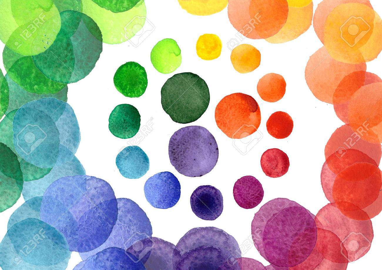 Handmade Watercolor Texture Colorful Paint Drops Color Wheel Isolated Rainbow Spectrum Spot Stock