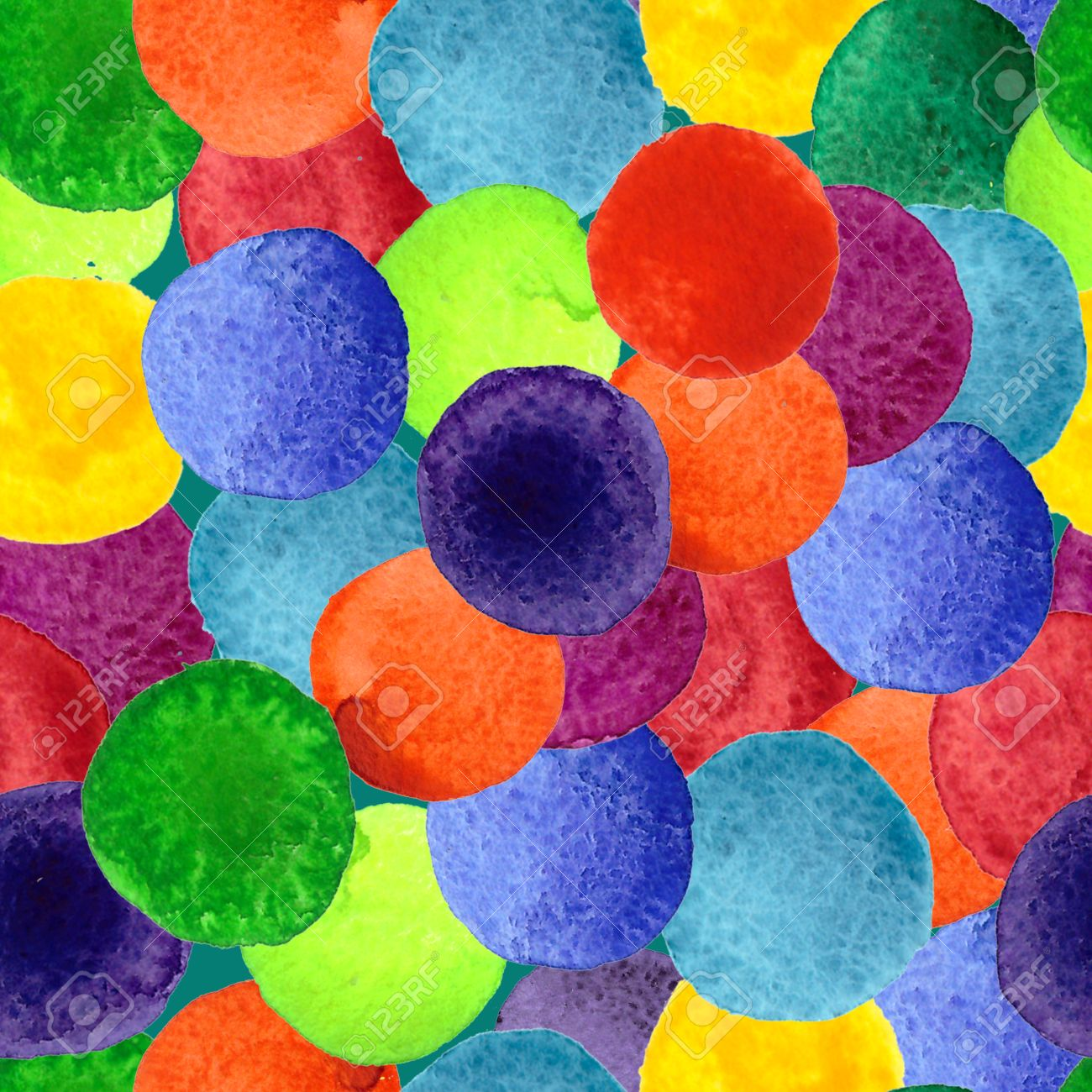 Handmade Watercolor Texture Colorful Paint Drops Color Wheel