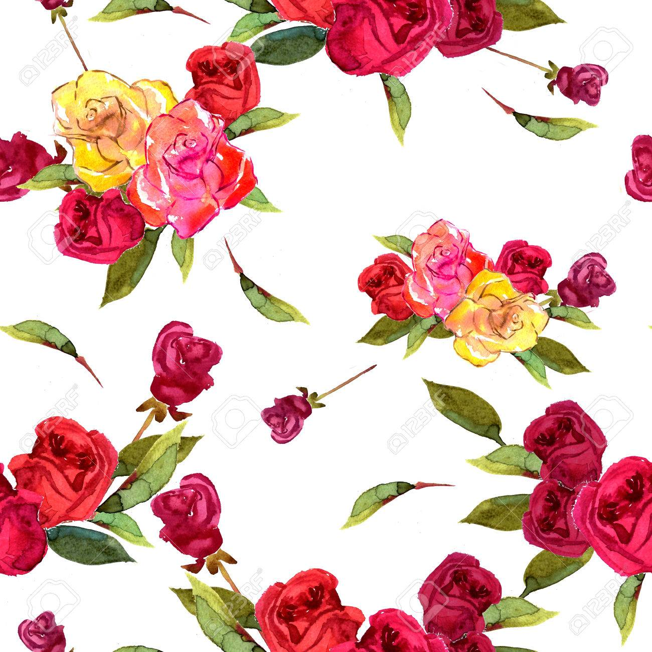 Illustration Watercolor Flowers Rose Red Yellow And Green Leaves ...