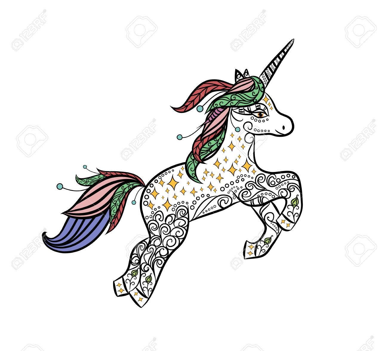 Unicornio Mítico En Un Vector De Estilo De Doodle De Animales Mágico ...